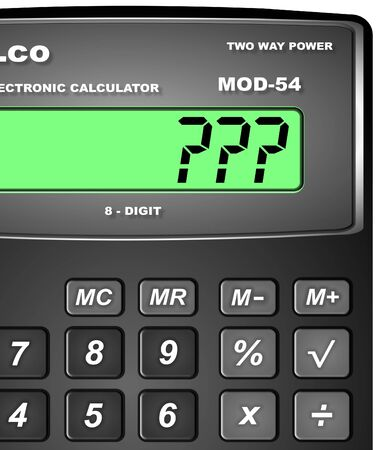 unspecified: Close up of a digital calculator with a question marks on its display Stock Photo