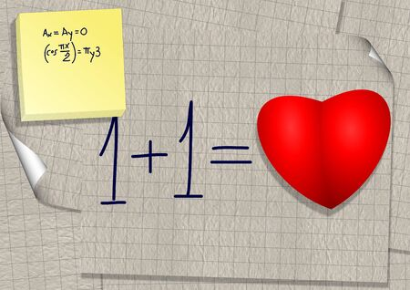 calculation: A simple mathematical calculation written on a piece of paper, as one plus one equal love Stock Photo