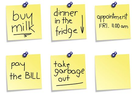 fridge: A collection of yellow post it notes with different messages on a white background
