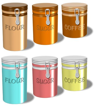 sweetener: A collection of flour sugar and coffee containers with white background