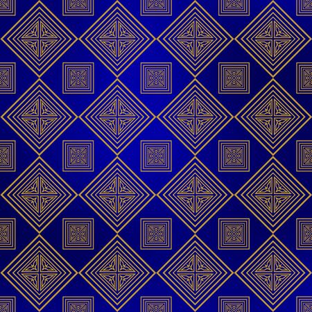 navy blue background: Gold square geometrical ornaments with on a navy blue background