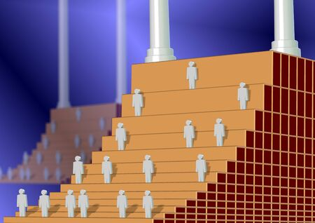 taller: A stairway as a corporate ladder with every next stair is taller and harder to climb