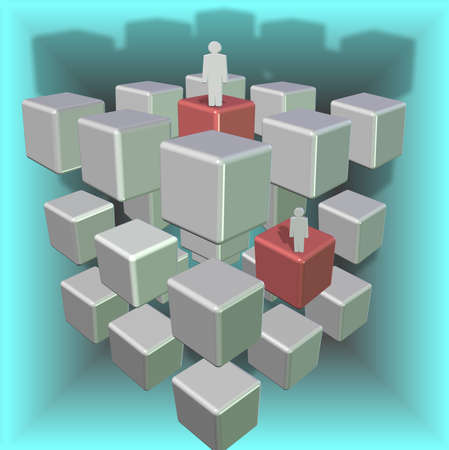 corporate ladder: Three dimensional white cubes representing corporate ladder turning red when they are occupied Stock Photo
