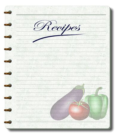 A white note book designed as a recipe book with illustration of vegetables printed on its pages