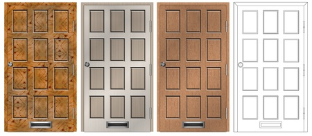 main entrance: A set of main entry house door in four different designs and textures Stock Photo