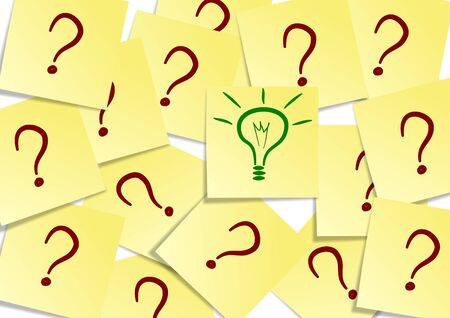 great idea: A group of yellow post it notes with a question mark and one with a green light bulb