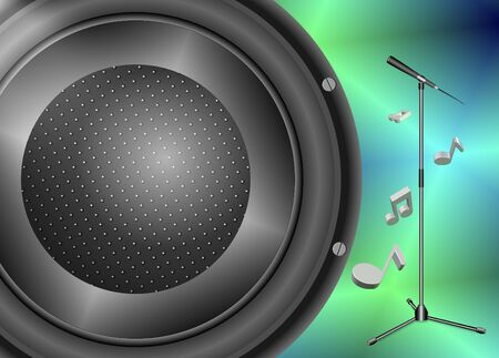 Close up of a speaker and a microphone with a stand behind it photo