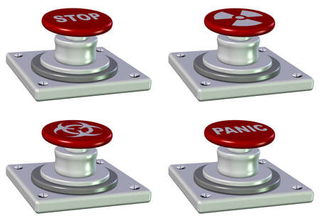 A collection of emergency red push buttons Stock Photo - 9945279