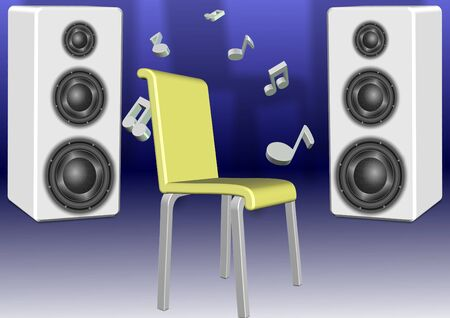 A chair placed in front of couple speakers Stock Photo - 9945275