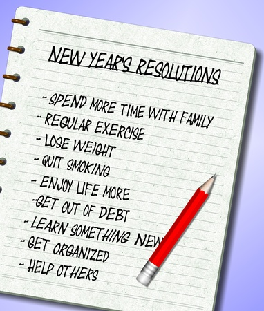 resolutions: A list of New Year's resolutions written on a note pad
