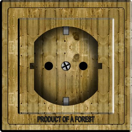 power point: An illustration of a power point made from wood