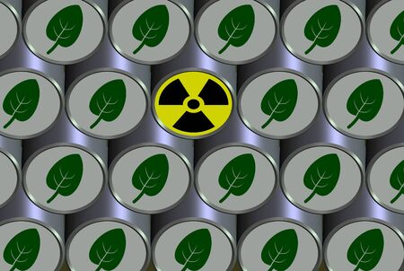 environmentally friendly: A number of barrels filled with environmentally friendly content and one with radioactive symbol Stock Photo