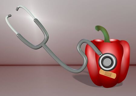 capsicum: A Stethoscope and a red capsicum with a plaster on it Stock Photo