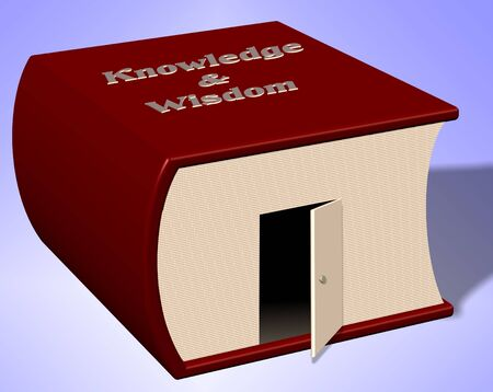 titled: A book titled knowledge and wisdom with a door wide open Stock Photo