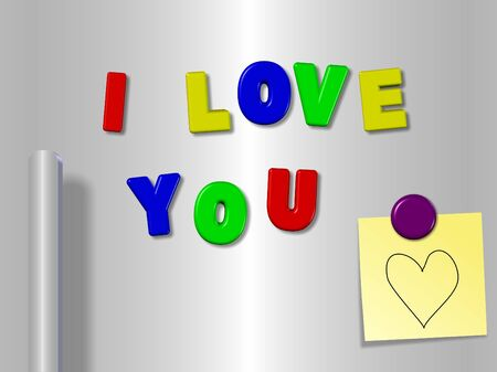 Fridge magnets spelling I love you with a heart on a sticky note photo