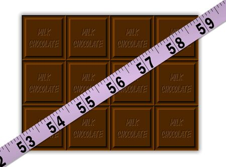 kilos: A purple tape measure across a bar of chocolate