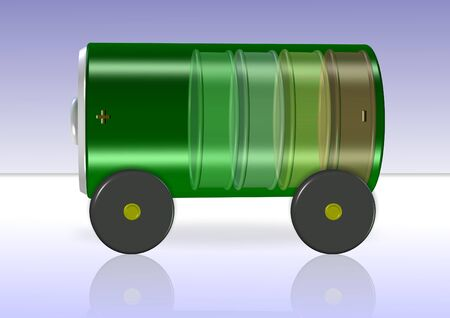 carbon emission: A green battery with wheels attached on a blue and white background