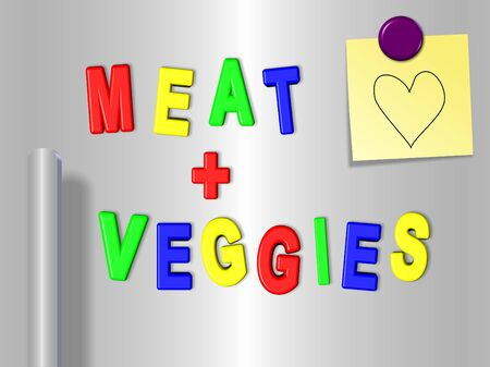 Fridge magnets spelling meat and veggies with a heart on a sticky note photo