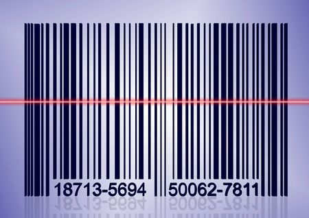 scanning: A red scanning laser over bar code with a blue background Stock Photo