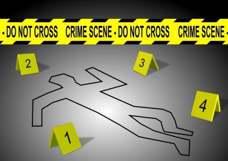 scene of a crime: A body outline with crime scene tape and numbers Stock Photo
