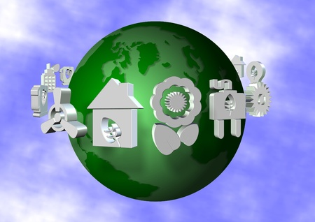 Green Earth with ecological icons flying around it photo