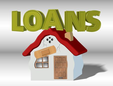 borrowing money: A house collapsing under weight of a word loans Stock Photo
