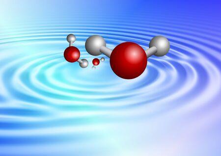 molecula de agua: Una onda suave causada por las moléculas de agua que sale