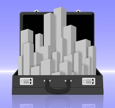 handy: A city coming out from a black business briefcase