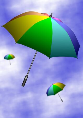 blown away: Colorful umbrellas flying up in the air with a blue sky in the background