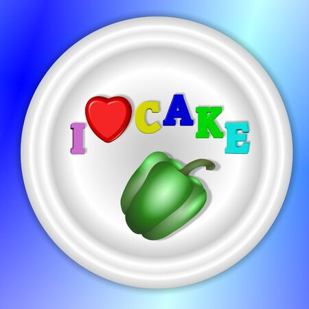 kilos: A text I love cake spelled on a same plate with a capsicum