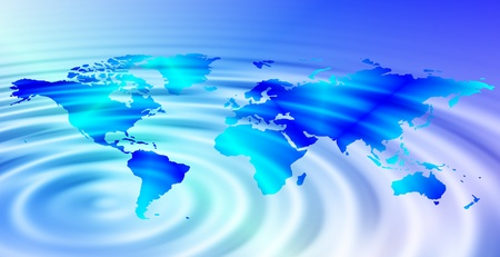 A tidal wave reaching every continent of the World Stock Photo