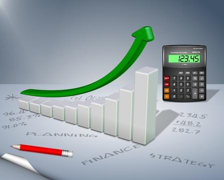 Upward chart arrow with a calculator and a pencil