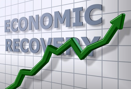 economic recovery: A green chart arrow in front of an economic recovery graph