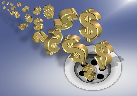 spending: Golden dollar symbols going down a sink drain