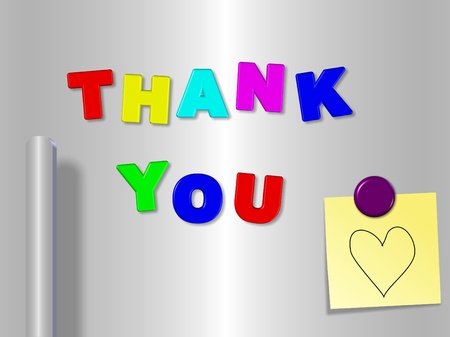 grateful: Fridge magnets spelling thank you with a heart on a sticky note