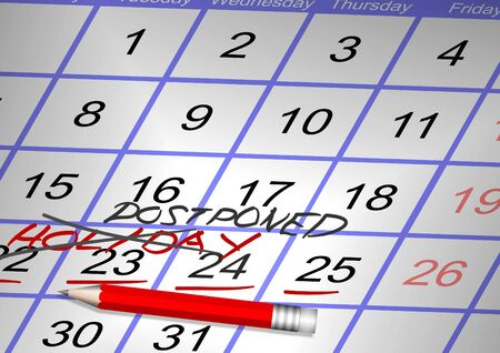 Days marked on a calendar as a holiday crossed and a word postponed written over it