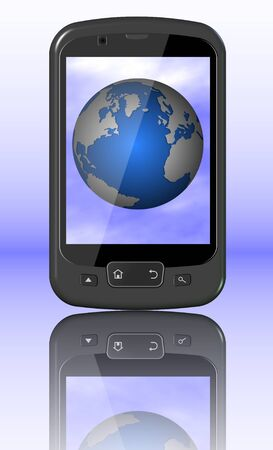 A black mobile phone and the Earth displayed on a screen Stock Photo - 10718261