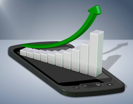 cell growth: Upward chart arrow positioned on top of a mobile phone Stock Photo