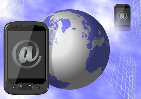 Earth and mobile phones with sign at on their screens Stock Photo - 10778346