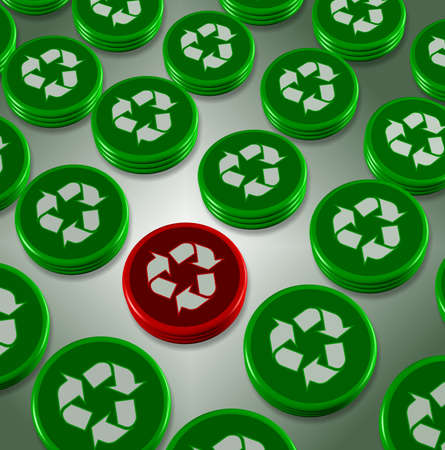 carbon emission: A number of green badges with a recycle symbol on them