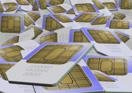 sim card: An illustration of a stack of sim cards randomly placed
