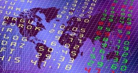 stock  exchange: Una Junta de bolsa con el mundo en segundo plano Foto de archivo