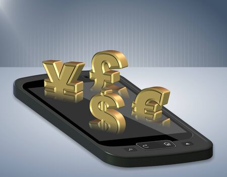 All major world currencies coming out from a mobile phone photo