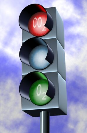 carbon emission: A traffic light indicating red for carbon and green for oxygen