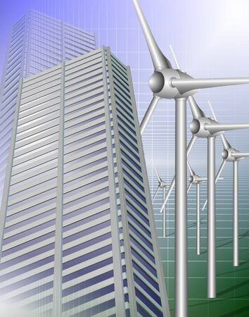 Modern city buildings and a row of wind mills
