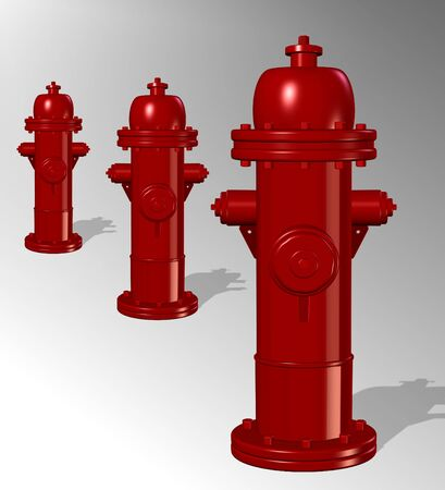 fire plug: A three dimensional illustration of a row of fire hydrants Stock Photo