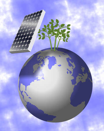 carbon emission: Solar panel suspended in the air above Earth and protecting green plants Stock Photo