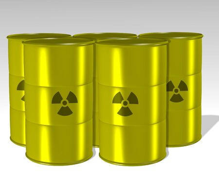 toxic barrels: A group of yellow barrels filled with a radioactive waste