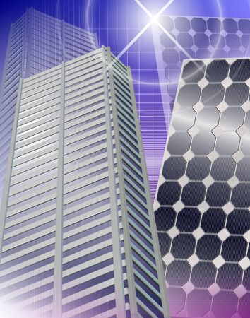 carbon emission: Modern city buildings and solar panels next to each other