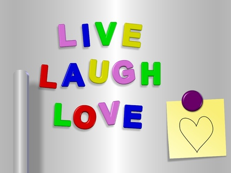 magnets: Fridge magnets spelling live laugh love with a heart drawn on a sticky note Stock Photo